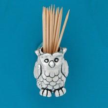 Pewter Owl Toothpick-Match Holder