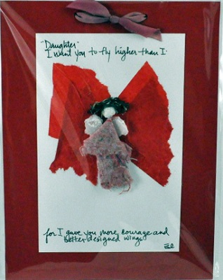 """Handmade Paper Wall Plaque - """"Daughter-I want you to fly..."""""""