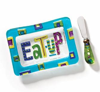 Eat Up Appetizer Plate with Spreader