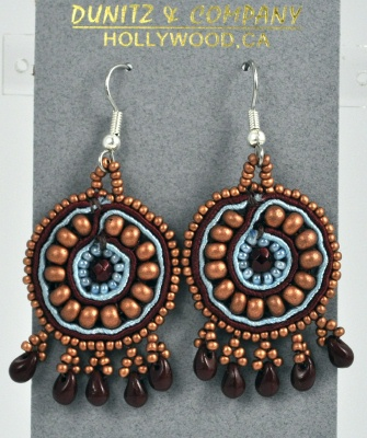 Round Mosaic Light Blue and Copper Earrings