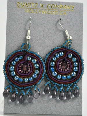 Round Mosaic Purple and Blue Earring
