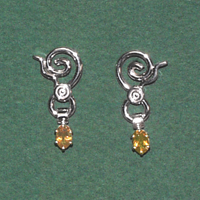 Sterling Silver Earring with Citrine Drop