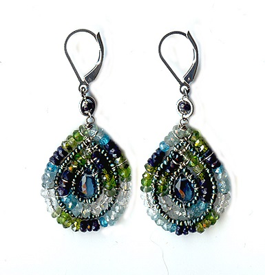 London Teal Mixed Stones Earring