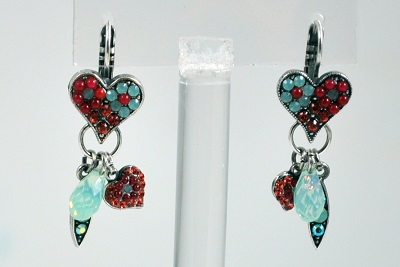 Coral and Turquoise Heart Earrings with Dangle