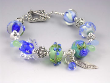 Flamework Glass Bracelet - Blueberry Hill