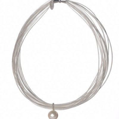 White Piano Wire Necklace with MOP Drop
