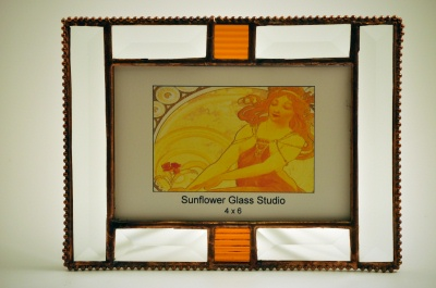 Beveled Glass Picture Frame with Amber Accent
