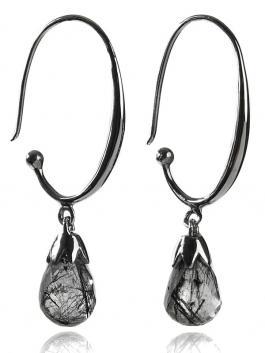 Jaipuri Circular Black Rutile Earrings