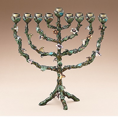 Enameled Floral Menorah with Crystals