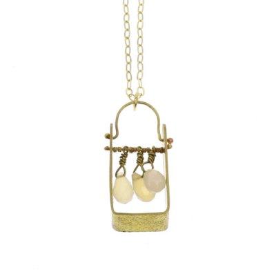Boxed Gem Brass Necklace - White Onyx