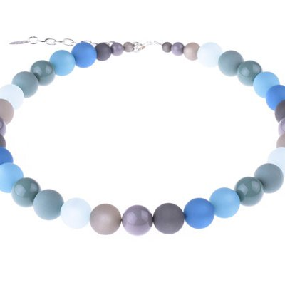 Blue Multi-colored Beaded Necklace