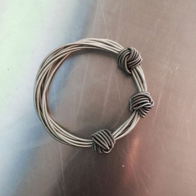 Silver and Slate Piano Wire with Small Knots Bracelet