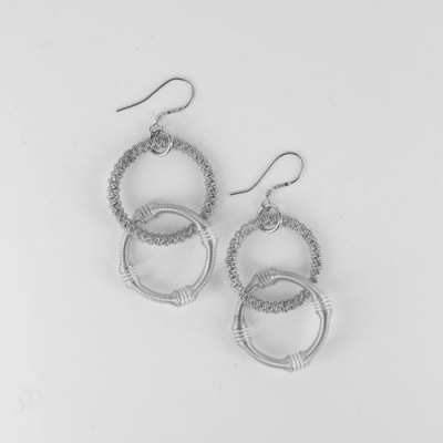 Small Silver Double Loop Piano Wire Earrings