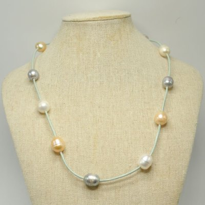 Turquoise Leather Necklace with Mixed Freshwater Pearls