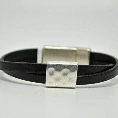 Women's Ornament Black Leather Bracelet