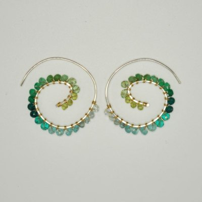 Fiddlehead Fern Earring - Forest Colorway Ombre