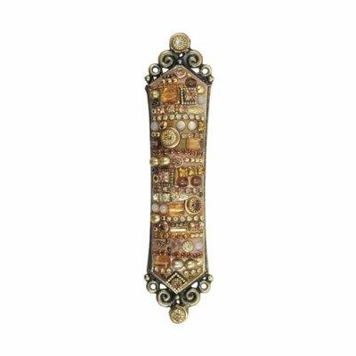 Mezuzah in Multi-Gold Stones