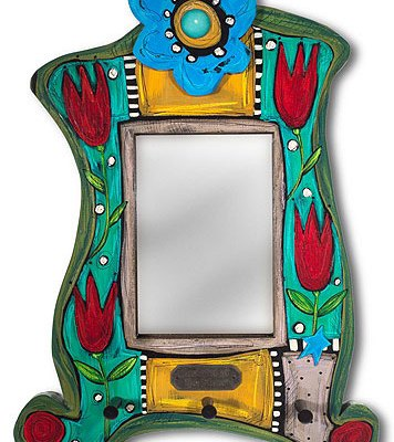 Handpainted Mirror with Key Hooks