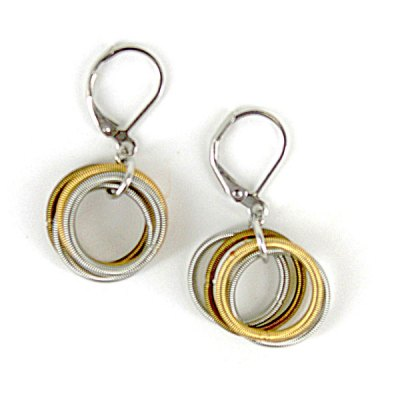 Gold Silver Pewter Piano Wire Earring