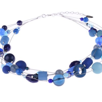 5 Strand Beaded Necklace - Winter Marine Blue