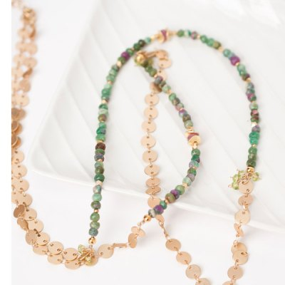 "Oasis 35-37"" Simple Gemstone Collage Necklace"