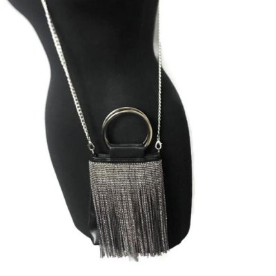 Black and Smoky Crystal Crossbody Handbag