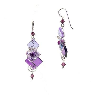 Triple Diamond Fused Glass Earring - Striker Purple