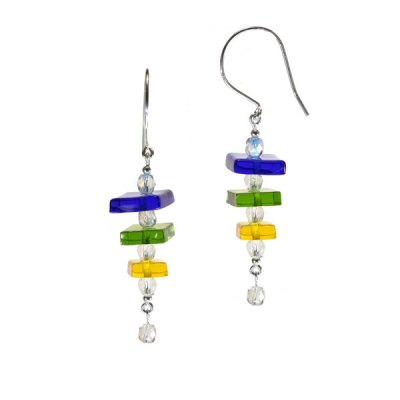 Triple Square Fused Glass Earring