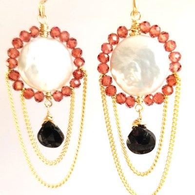 Coin Pearl Onyx Garnet Earrings