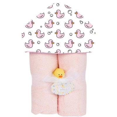 Deluxe Towel Plush Hood - Pink Ducks