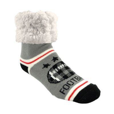 Classic Slipper Socks - Football Grey
