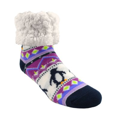 Classic Slipper Socks - Lilac Penguin
