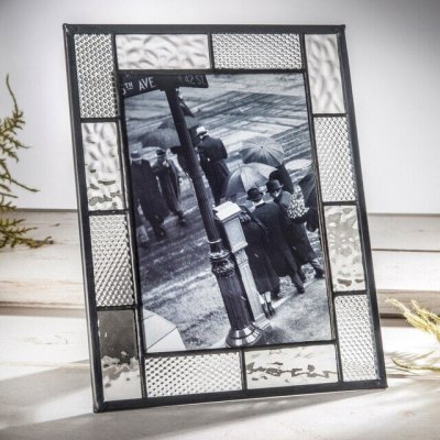 5x7 Easel Back Frame - London Fog Grey and Clear Cube