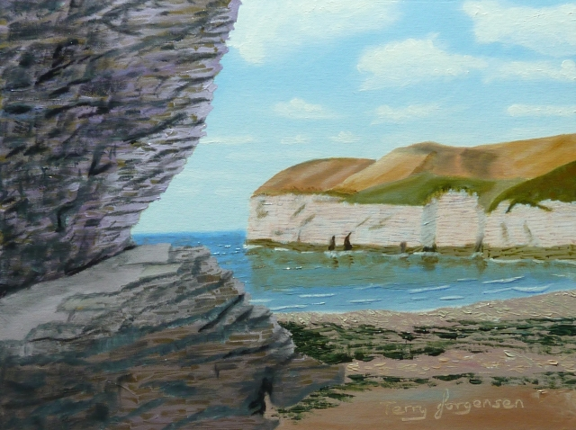 A photo of an oil painting of North Landing, Flamborough on the Yorkshire coast.