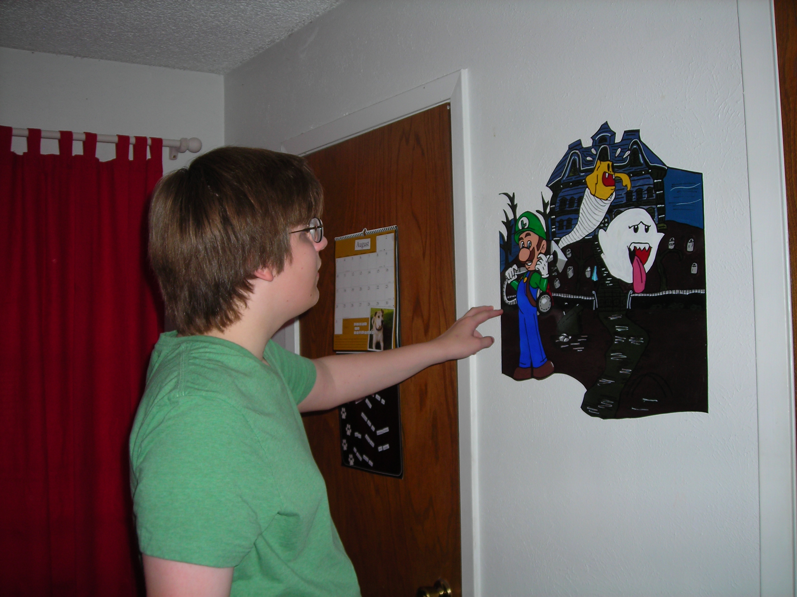 Matt checking out the Luigi\'s Mansion mural