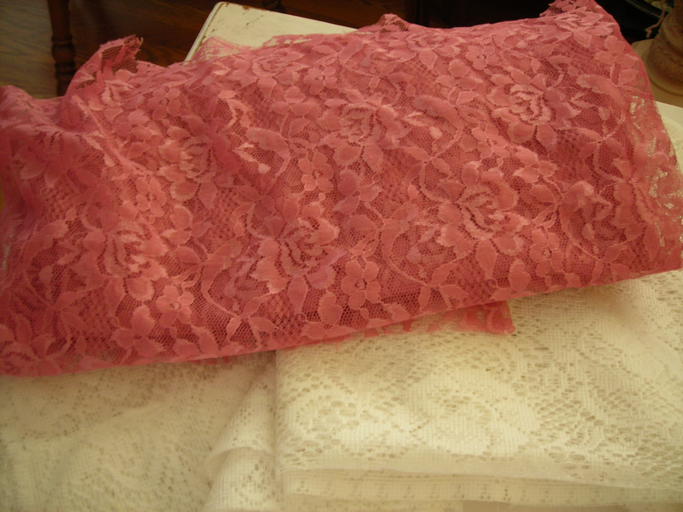 Pretty rose lace and white panels
