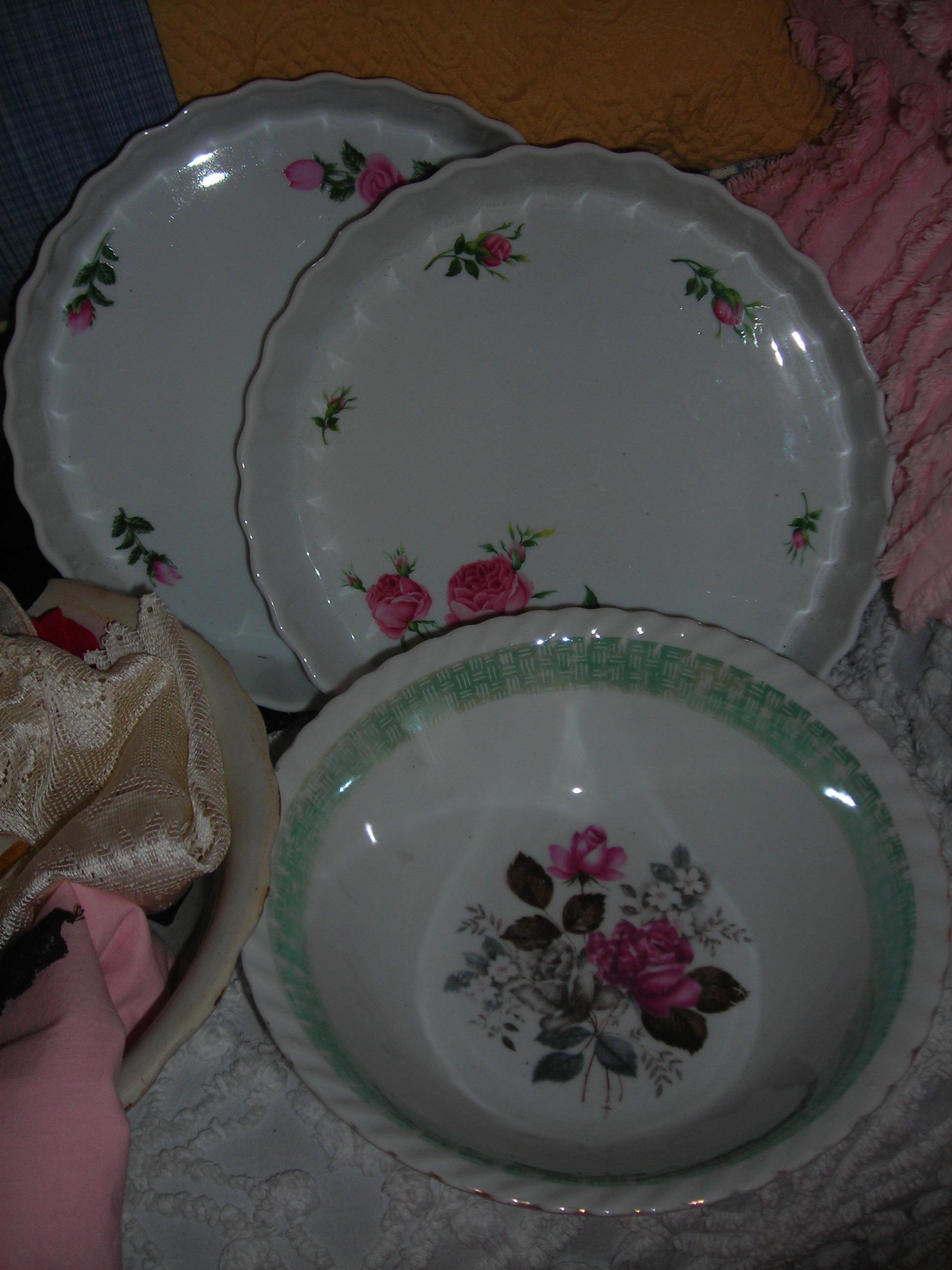 rose bowl with rose pie plates behind