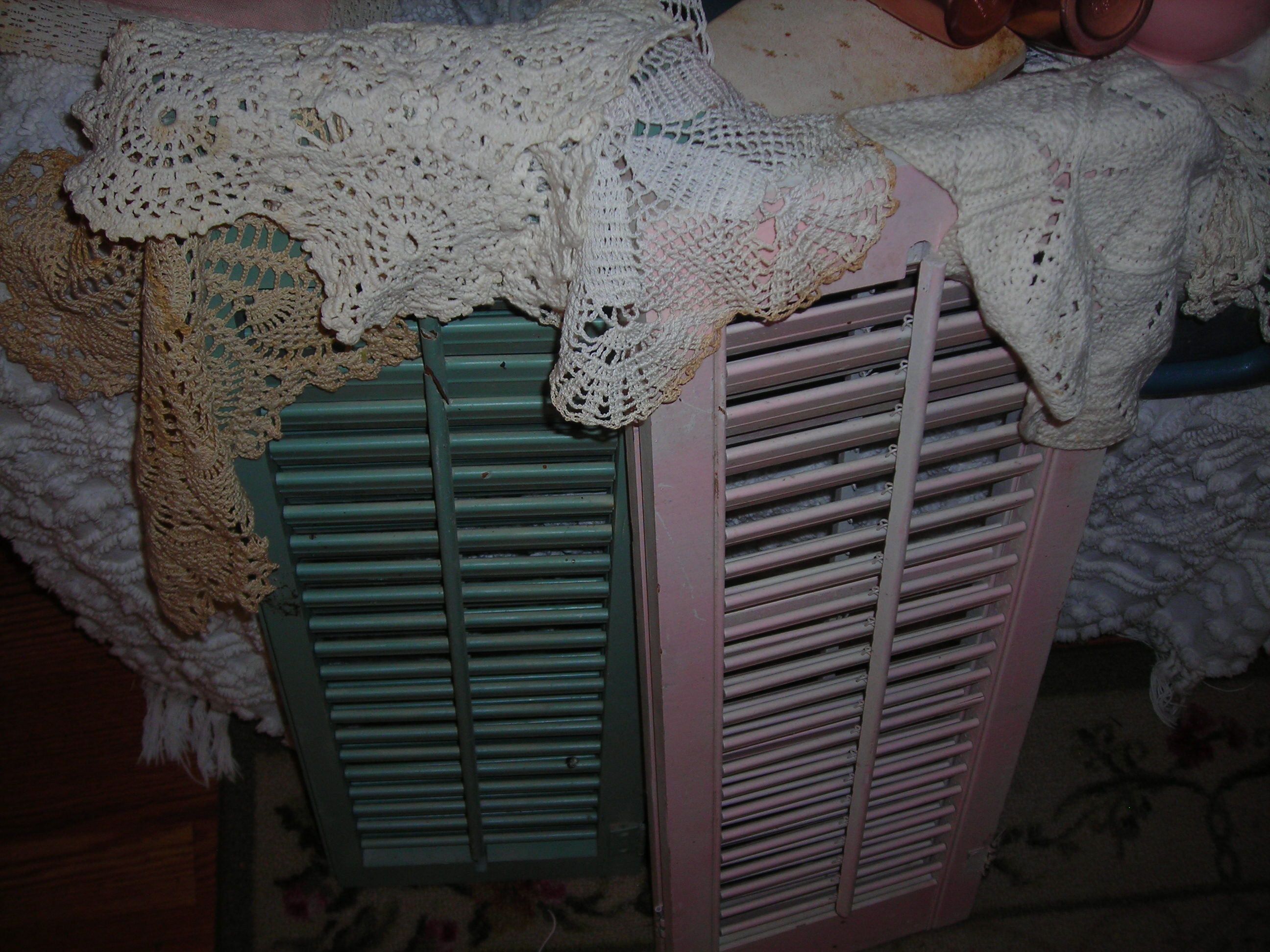 sweet old shutters, already painted my fave colors!