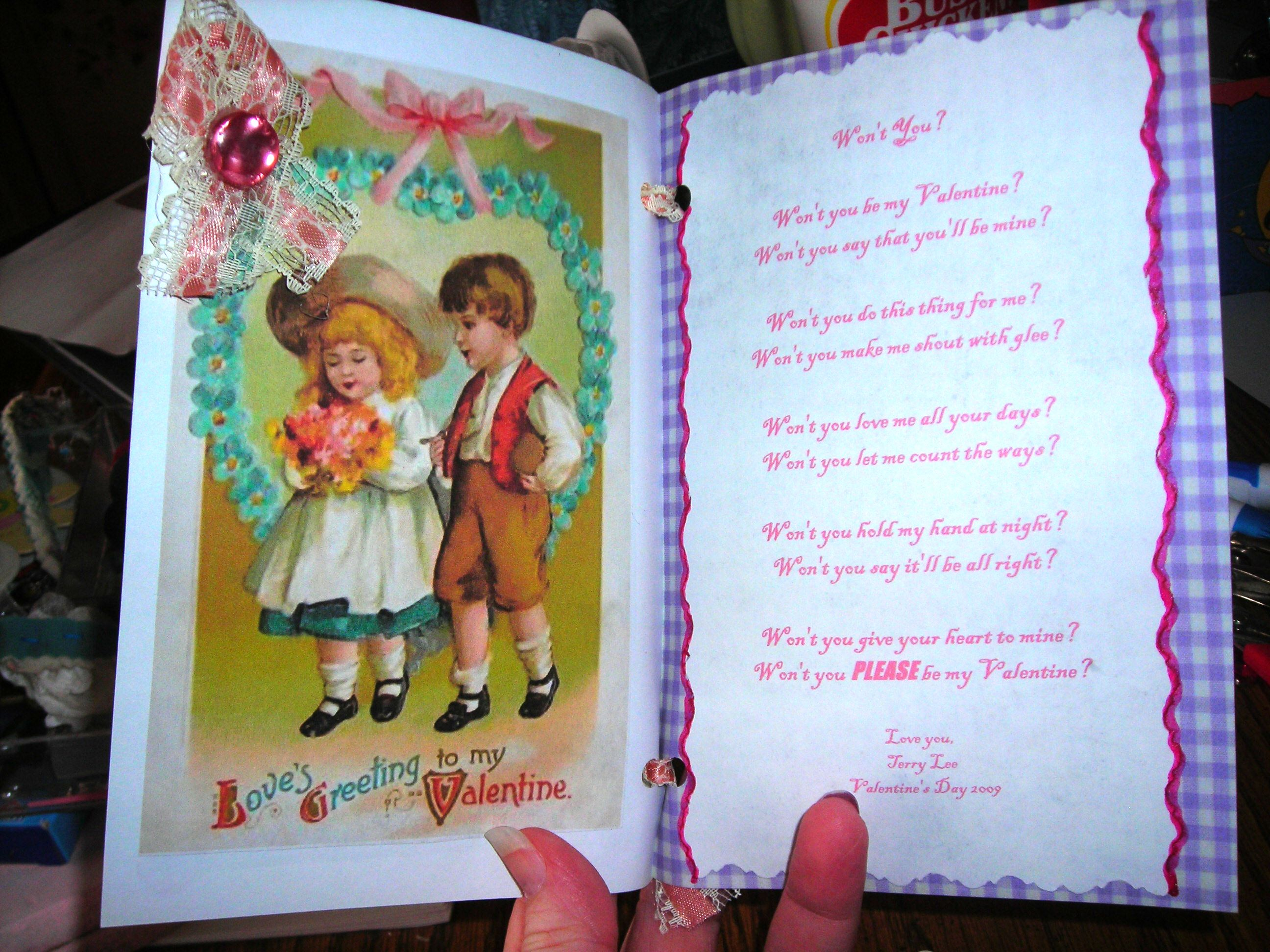inside, with poem i wrote for him ...
