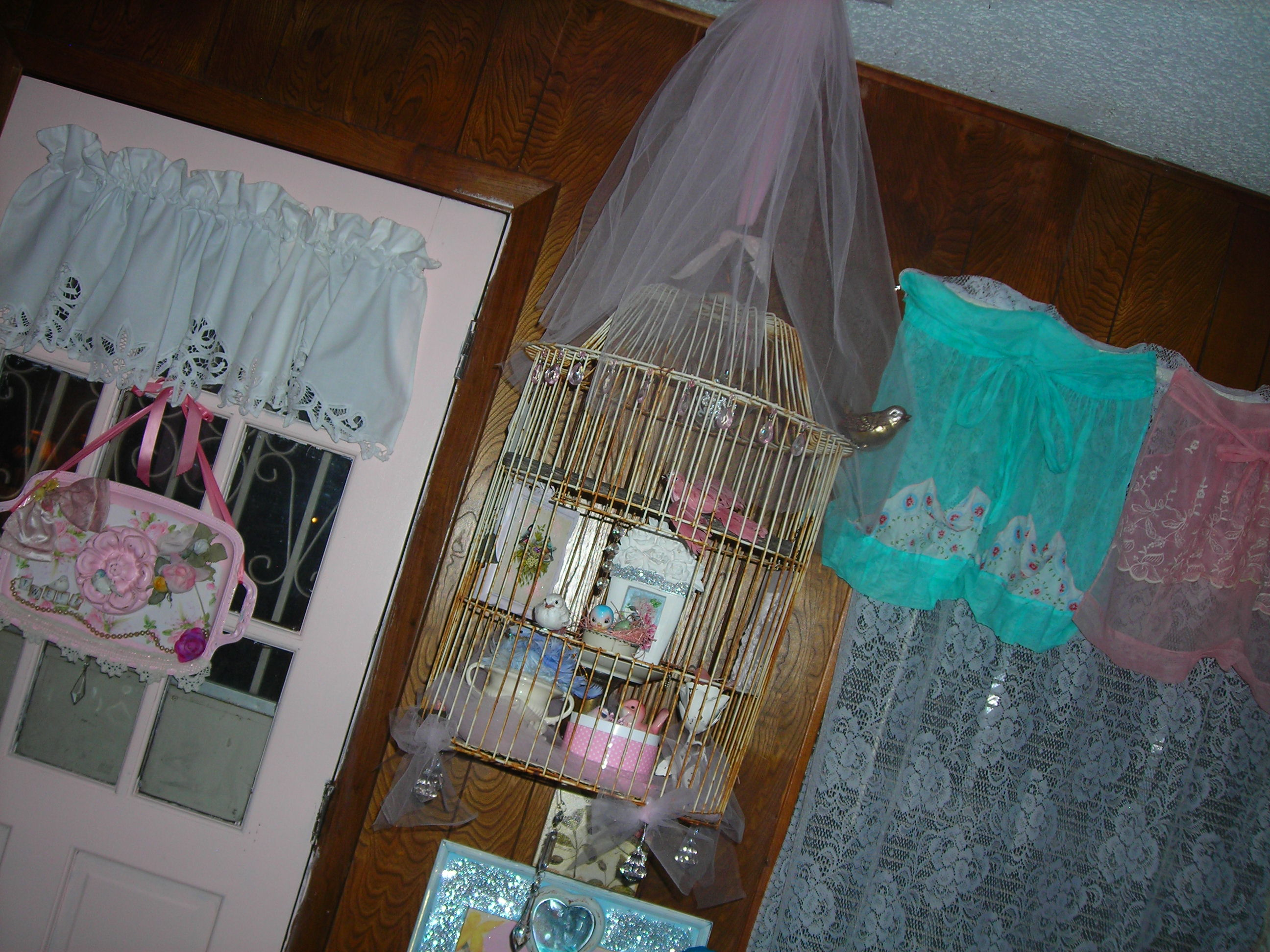 time to check in on my 'birdies'! i must be insane to have a an old rusty birdcage IN my house, filled with fake birds ... but at least they don't poop or stink or make noise.