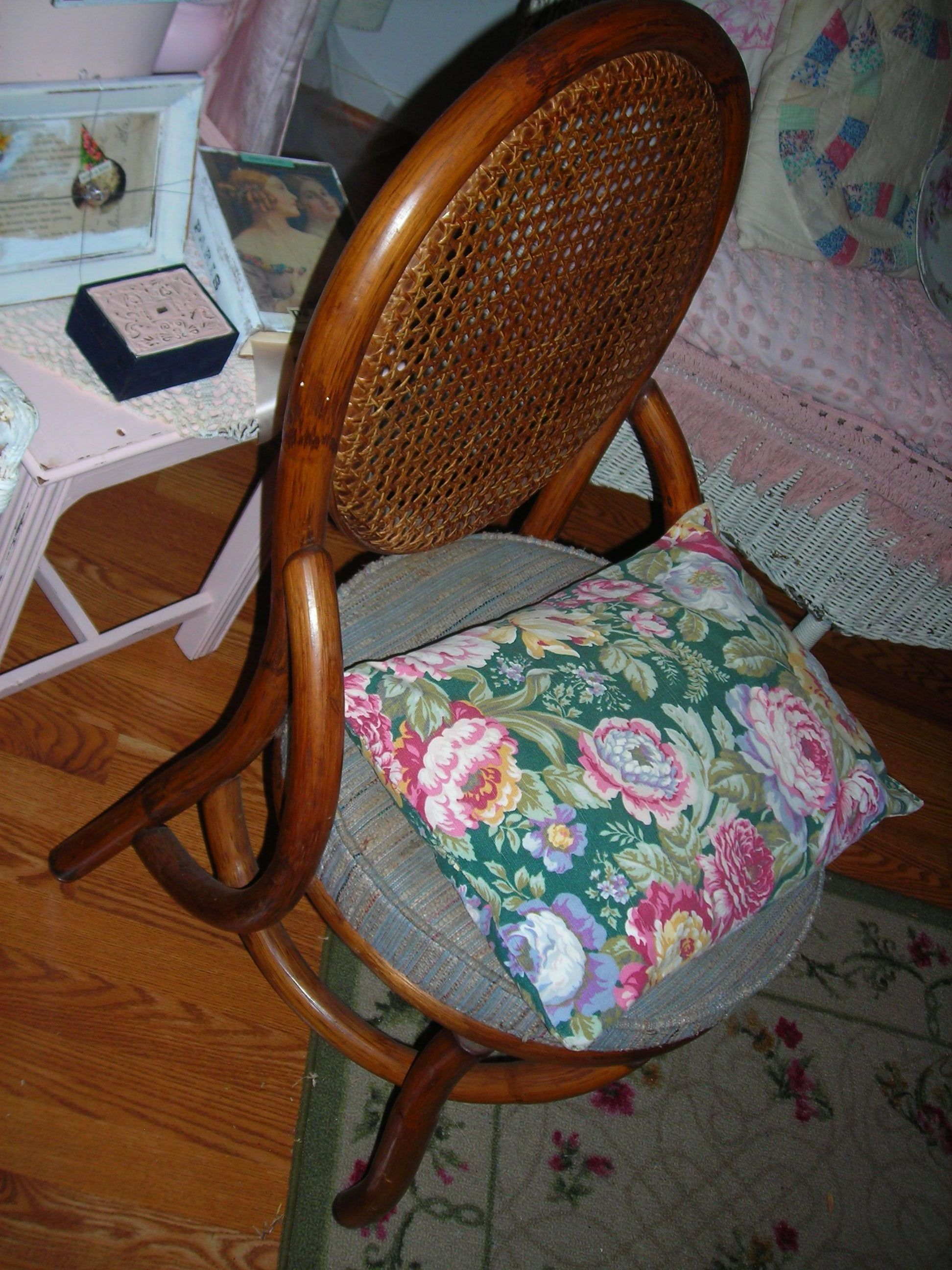 great little chair i plan to paint. 2 bucks. sigh! the little rose pillow 50cents!!