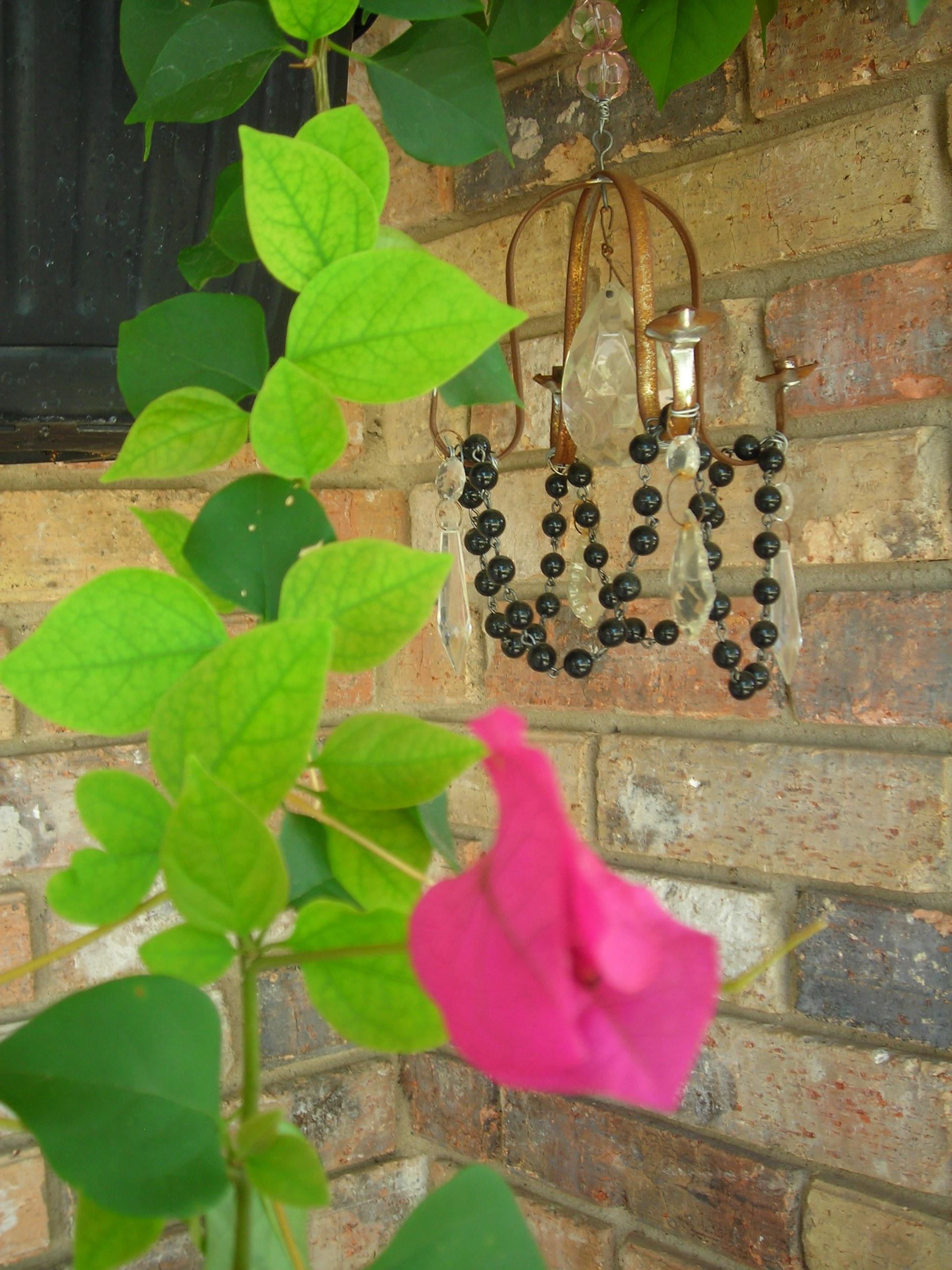 front porch hanging basket with mini garden chandie