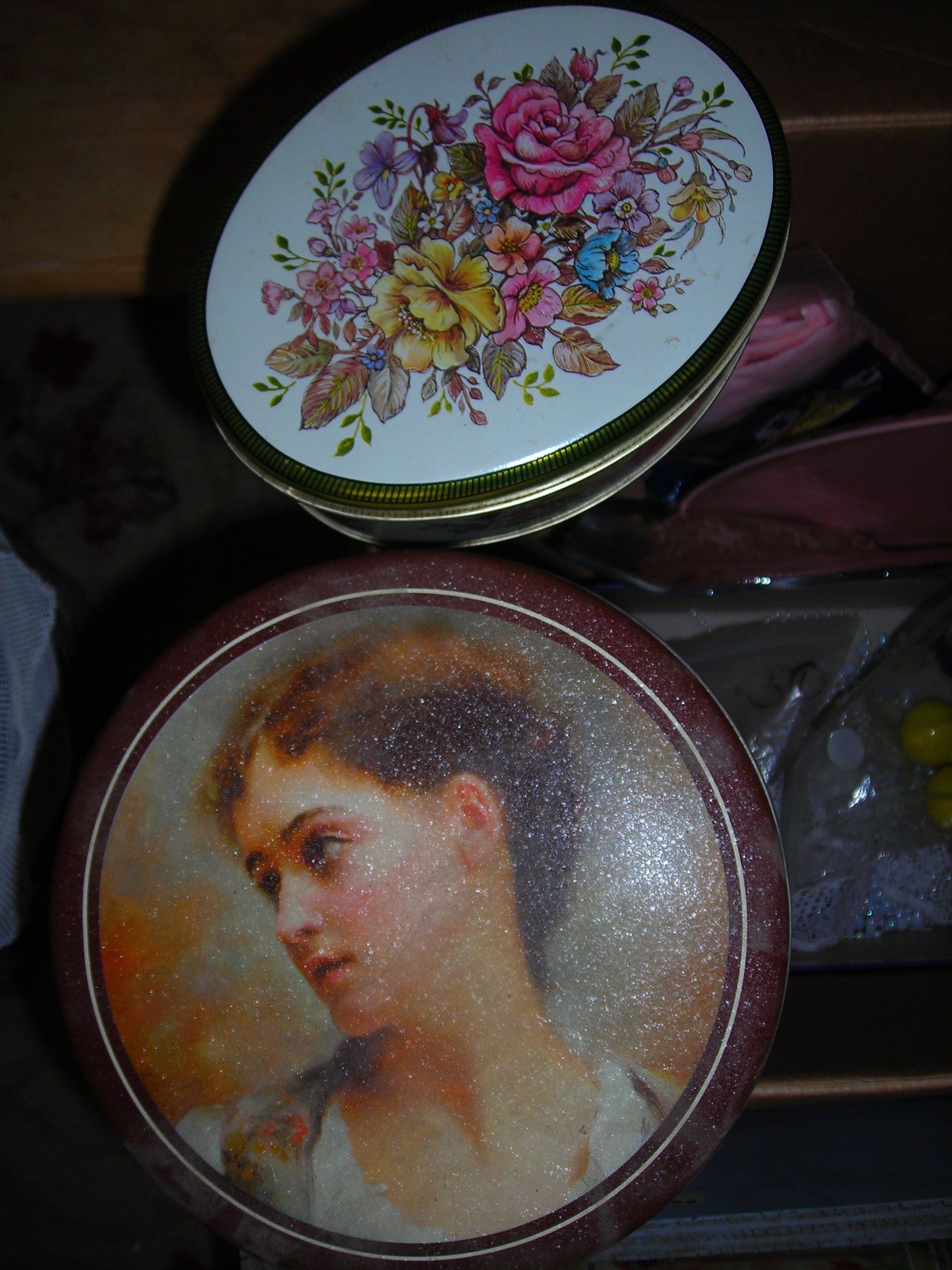 great little tins from the church rummage sale. esp love the french girl