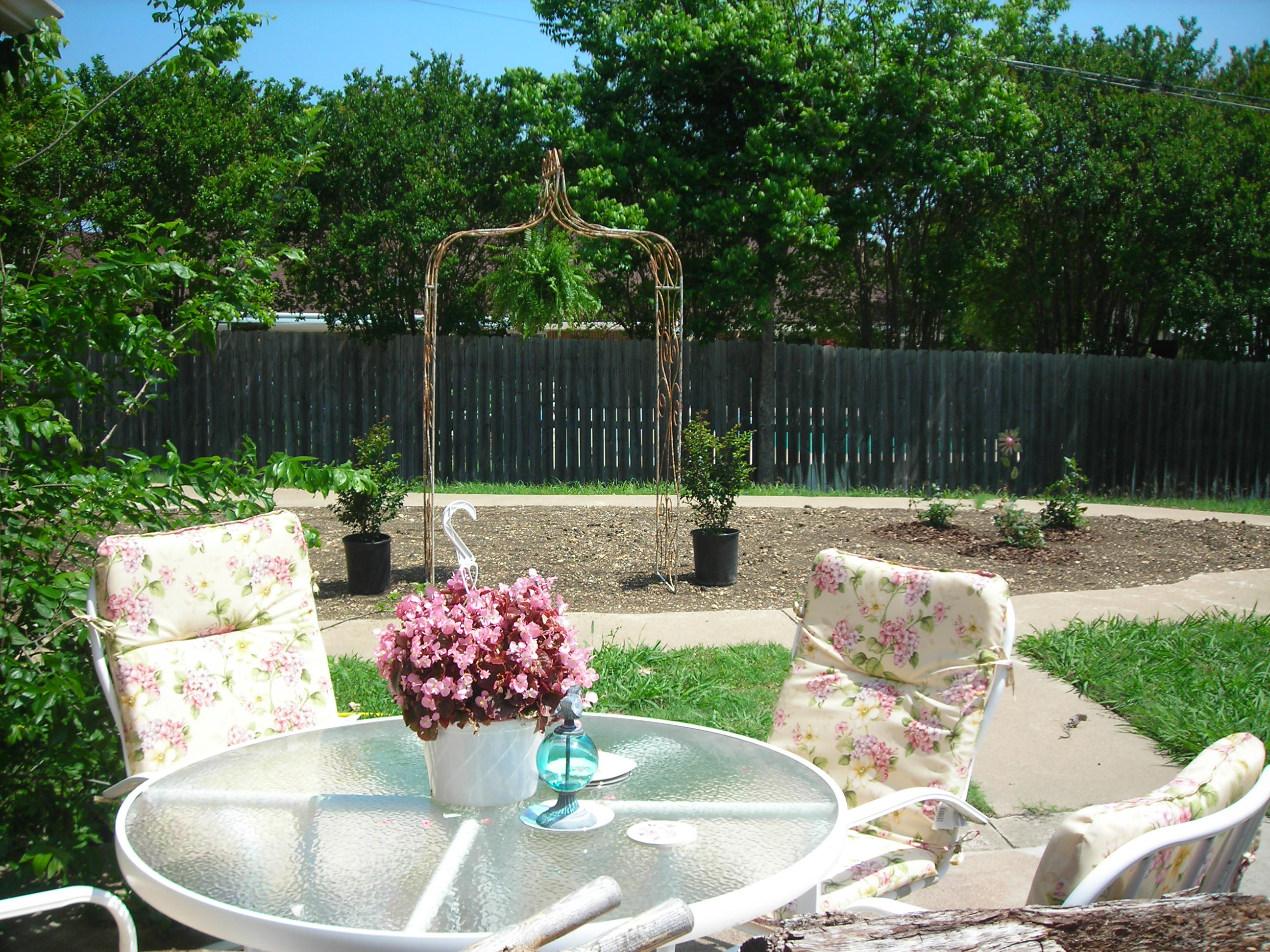 my patio table with new cushions and lovely pink begonias ... with a view of The Garden ... love that arch!