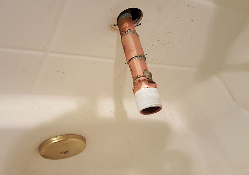new tub spout leaking near wall terry