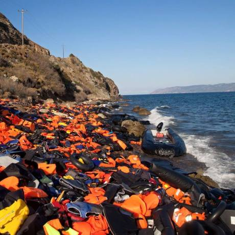 Discarded refugee life vests