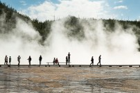 Tourist at Grand Prismatic Springs in YNP.