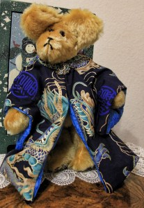 Blue Dragon Gold Mohair Bear with antique blue jeweled pin, SOLD