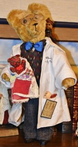 Doctor bear with antique quilt for baby bear, golden mohair bear, antique glasses, wooden body and wires arms
