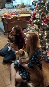 Jenn and Mike and the corgis